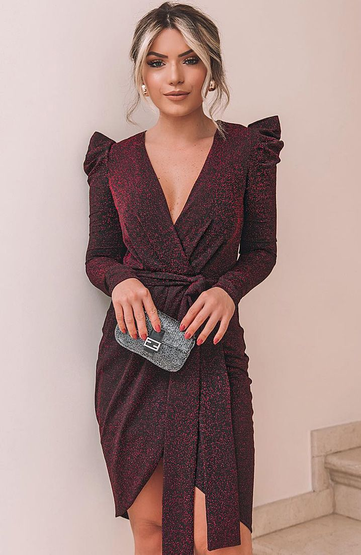 Deep V Neck Long Sleeve Tie-Wrap Dress 16