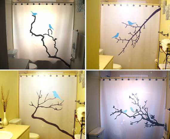 Blue Birds Shower Curtains Tree Branch Bathroom Decor Kids Bath Nature Lovebirds Bird Bluebird Vine Can Be Any Color
