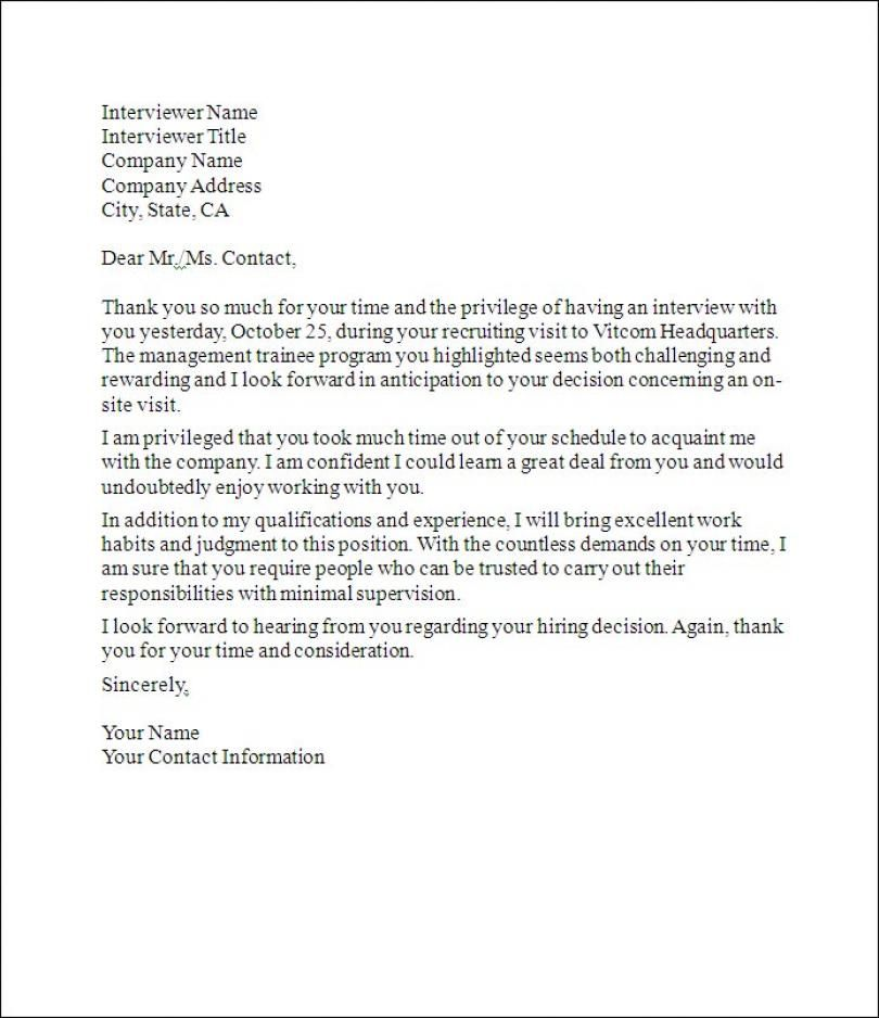 Follow Up Thank You Letter - Sample thank you letter with - plain text cover letter