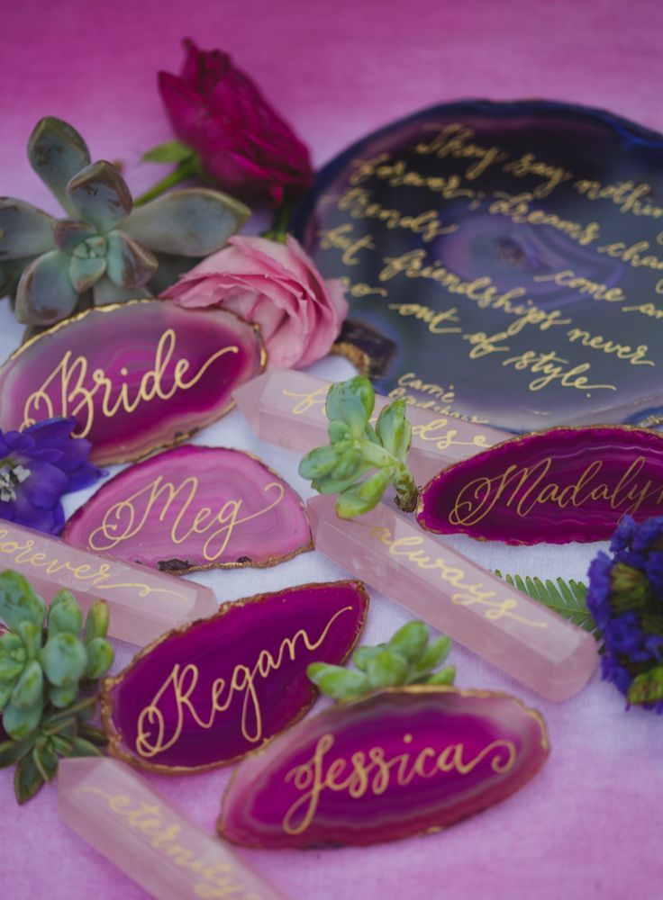 Agate And Gemstones With Gold Calligraphy As A Personalised Bridesmaid Gift