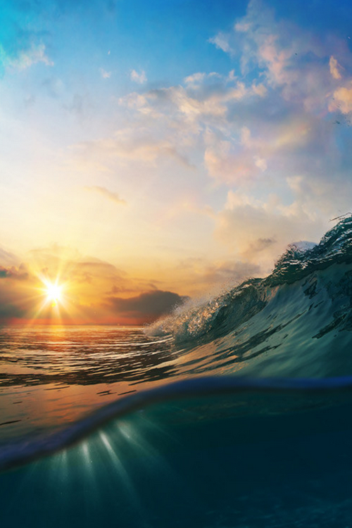 """plasmatics-life: """" Sunset on the beach with breaking ocean wave """""""
