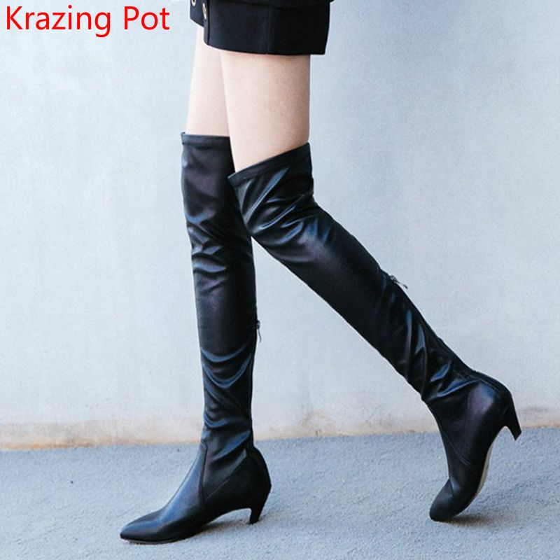 7f109f142605 2018 Handmade Genuine Leather Thigh High Boots Superstar Stretch Boots Sexy  Med Heels Pointed Toe Women