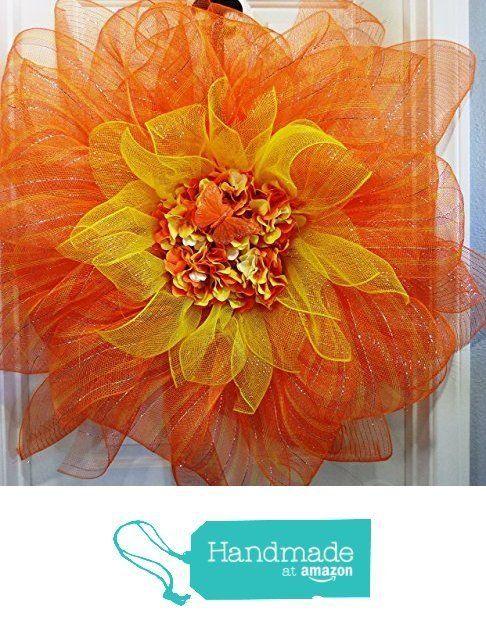 Photo of Orange and Yellow Sunflower Wreath Deco Mesh Wreath Flower Wreath Inspiration Of…