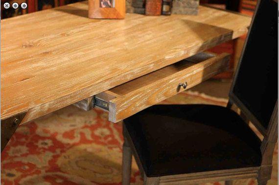 Récupération de bois tiroir supérieur de pieds en métal un Distressed avec descente pleine extension que finale est un bois blanc/natural vintage