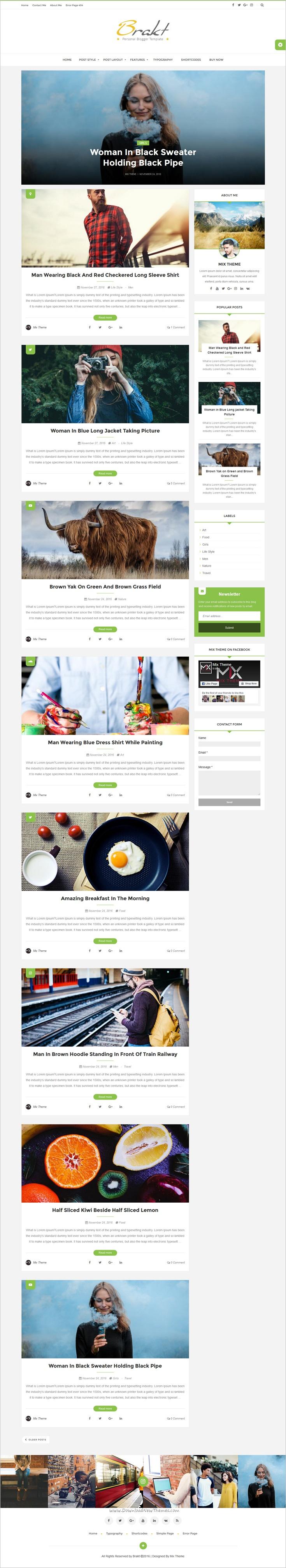Brakt - Personal Blogger Template