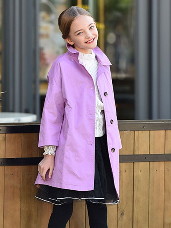 0b5c010978f1 Purple Cotton Trench Girl Coats. Age  5 - 12 years old. Wanna top ...