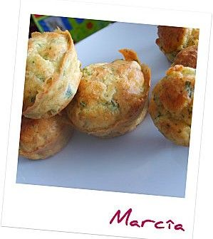 Muffins with bacon and green herbs