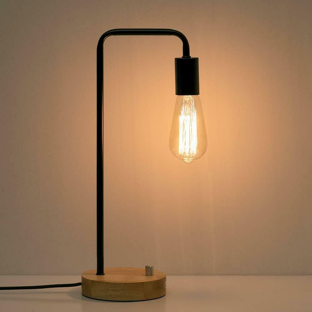 Haitral Industrial Desk Lamp Wooden Table Reading Lamp For Office