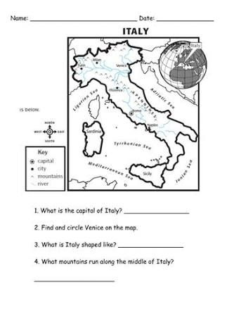 Free Printable Worksheets On Italy