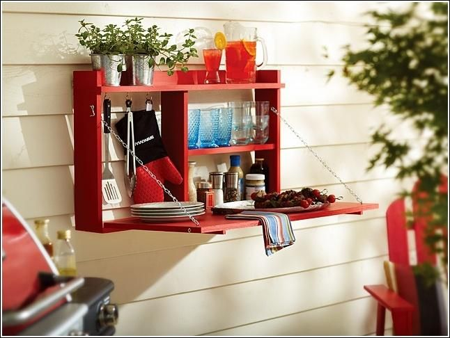 DIY Fold Down Outdoor Dining Cabinet