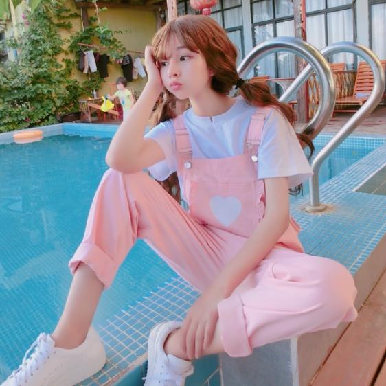 Pink Kawaii Jumpsuit Overalls