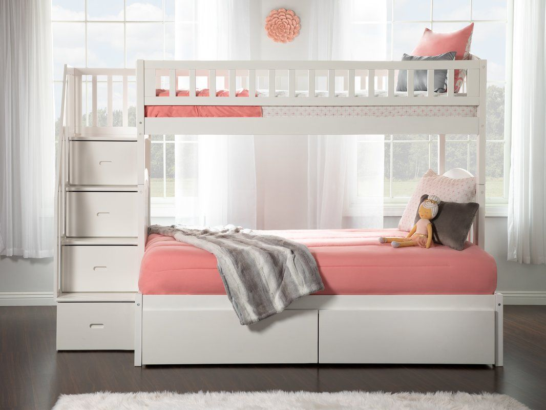 Salem Staircase Twin Over Full Bed With Drawers Bunk Beds With