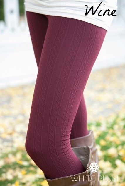 White Plum's Cable Knit Fleece Lined Leggings! 10 Colors Available ...