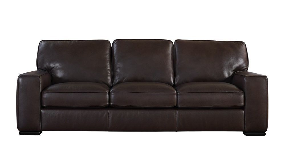 Matera Collection Brown Leather Stationary Sofa | Furniture ...