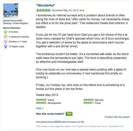 What our Customers are saying about Armazém do Sal  Reservations: 291 241 285   919 134 411 E-mail: eventos@armazemdosal.com § Armazém do Sal - Rua da Alfândega nº 135, Funchal