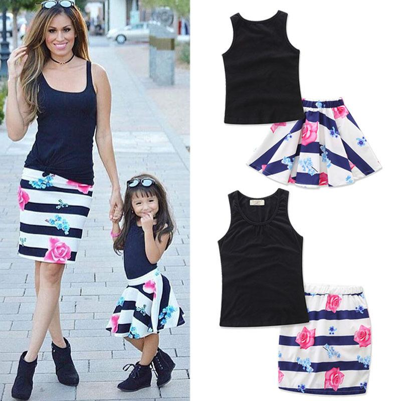fbea60a13d Summer Mom Girl Matching Outfits Daughter Women Kid Girls Vest & Floral  Striped Skirt Clothing Set
