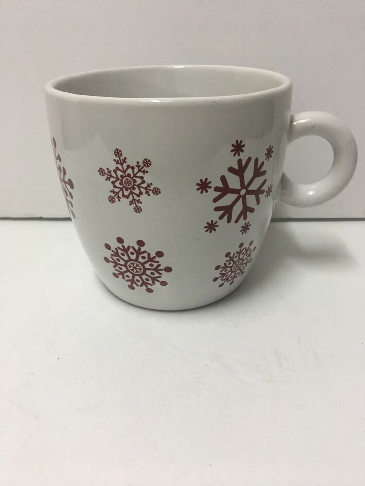 Details About California Pantry 2009 E Large Coffee Mug Cup White Cup W Red Snowflakes Large Coffee Mugs Large Coffee White Cups