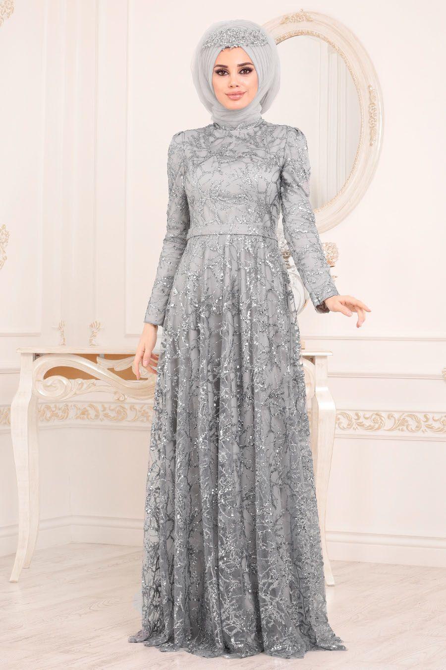 0880caedf6a0c Tesettürlü Abiye Elbise - Pul & Sim Detaylı Gri Tesettür Abiye Elbise 2079GR