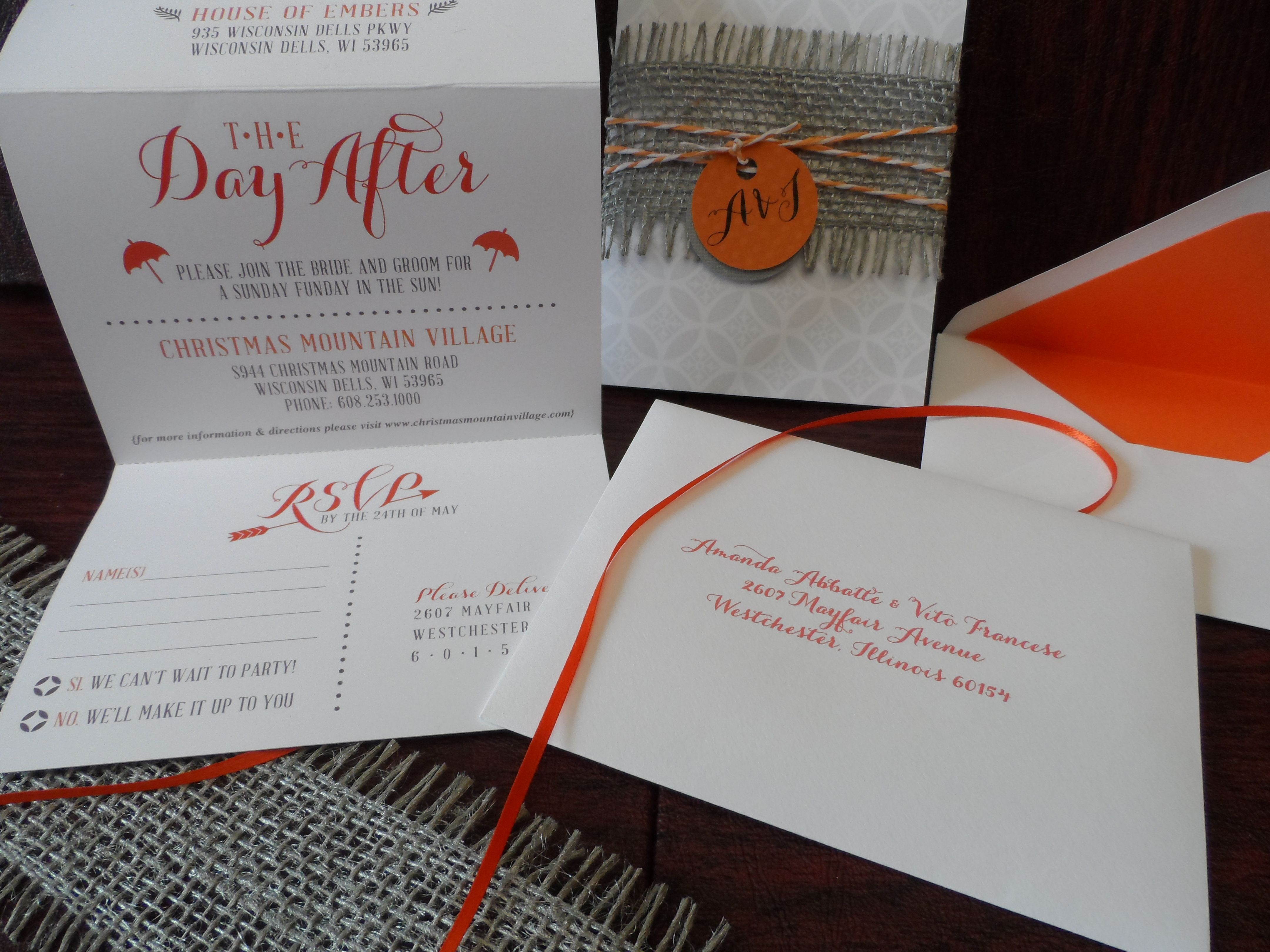 Orange And White Accordion Style Wedding Design Complete With Printed Lined Envelopes Belly Band