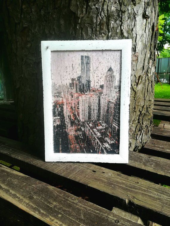 New York City Print In Wood Frame NYC Wall Decor With 3D Effect Raindrops Traveler Birthday Gift Dec