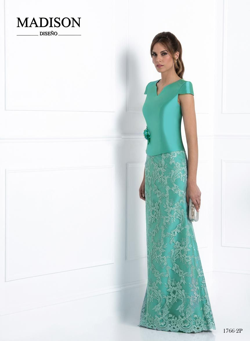 vestido boda largo color verde agua   moda   Pinterest