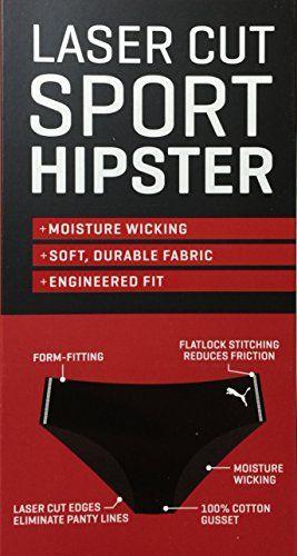 PUMA Laser Cut Sport Hipster Panty 3 Pack Moisture Wicking Size XL Women/'s