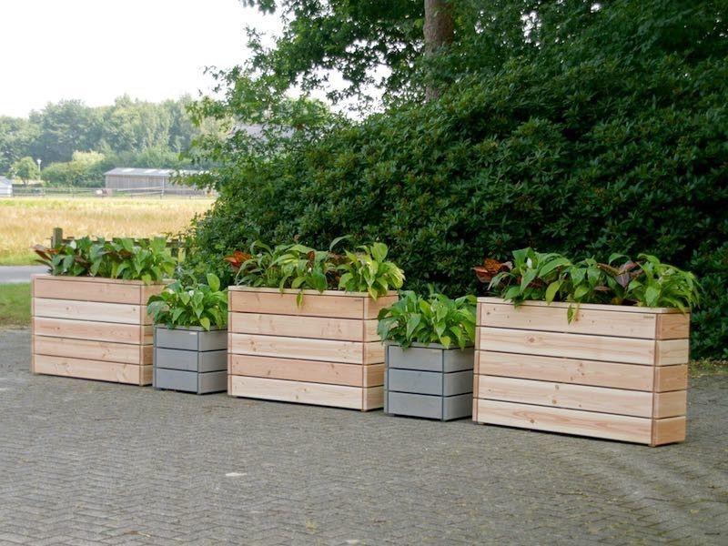 Pflanzkasten / Pflanzkübel Reihe aus Holz, Natur + Grau ...
