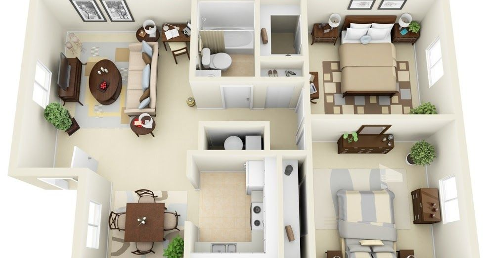 50 3d Floor Plans Lay Out Designs For 2 Bedroom House Or Apartment 2 Bedroom House Design House Floor Plans Small House Plans