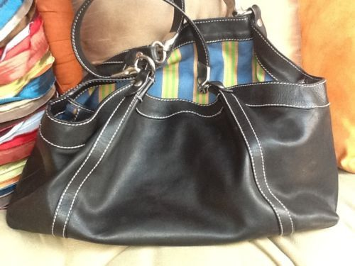 Hogan Italian Black Leather Bag Per
