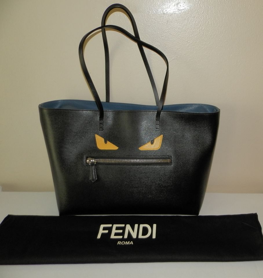 328b309277 $1450.00 NEW Authentic FENDI Black Buggie Evil Eyes Leather Roll Bag Tote  Purse