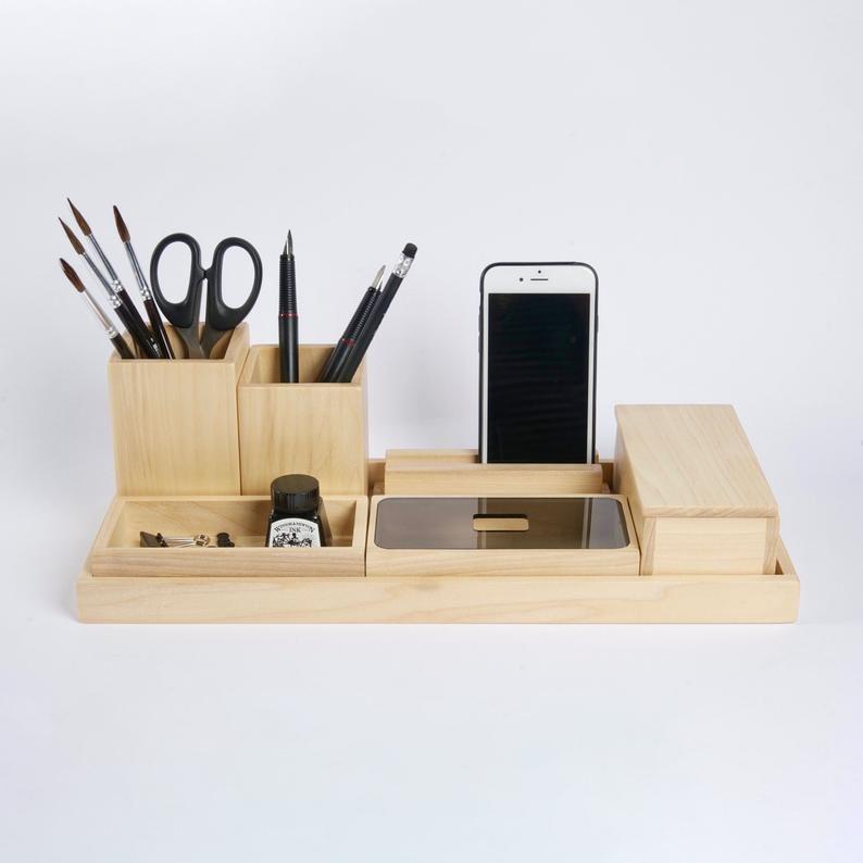 Wooden Desk Organizer Office Desk Accessory For Man New Job Gift For Him In 2020 Wooden Desk Organizer Desk Accessories Office Desk Organization
