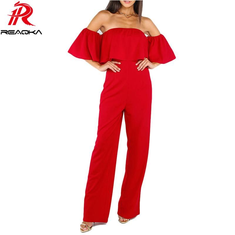 cda94ba00c8 Ruffle Elegant Rompers Women Jumpsuit 2018 New Fashion Off The Shoulder  Bodysuit Boot Cut Romper Playsuits Long Pants. Yesterday s price  US  25.81  (22.91 ...