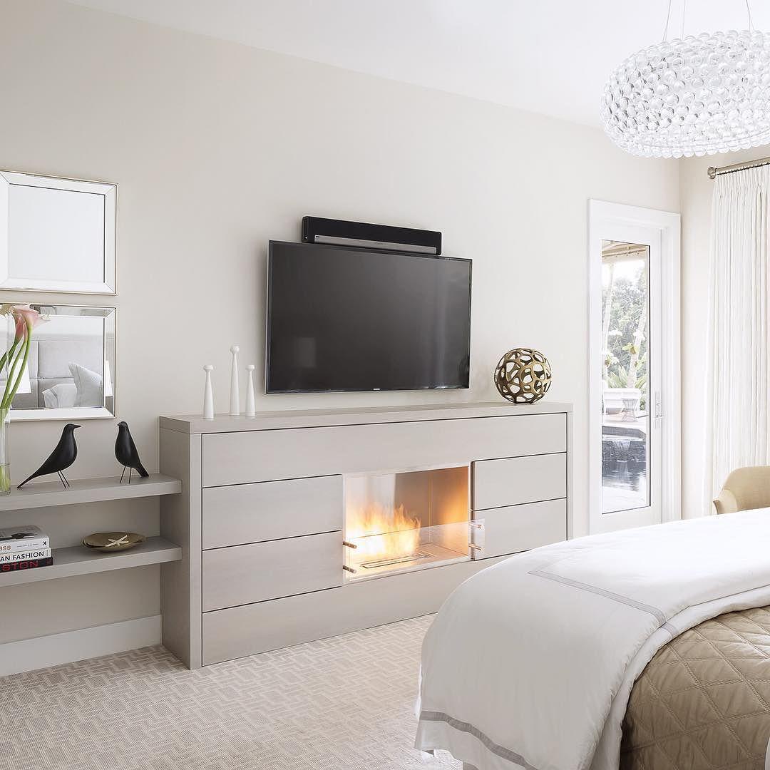 Bedroom bed cozy fireplace interior interiordesign decor