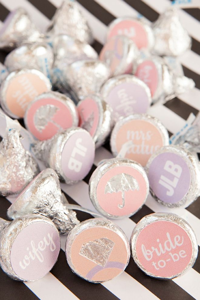 how to make custom hershey kiss stickers for your bridal shower with free printables