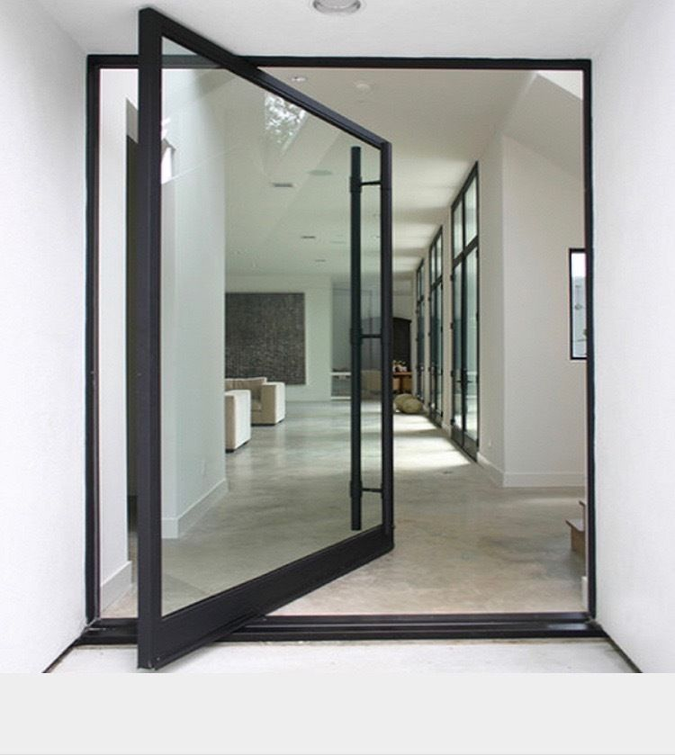 Custom modern aluminum glass pivot entry door front double Modern glass exterior doors