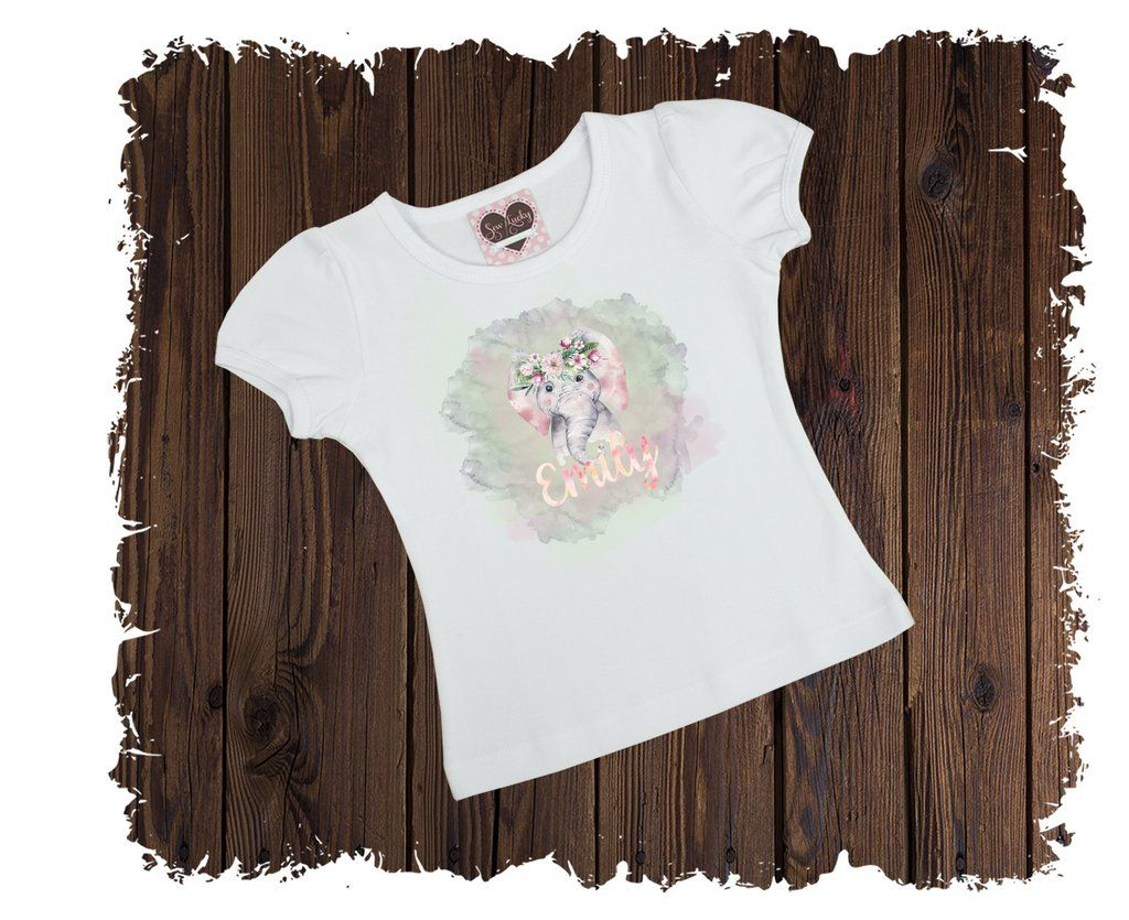 Elephant Watercolor Personalized Printed T Shirt Available In