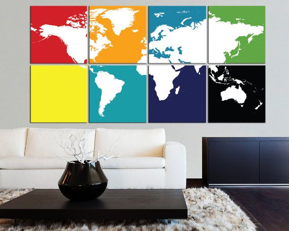 8 pieced different backgrounded white world map by worldmapcanvas 8 pieced different backgrounded white world map canvas print 8 panel colorful world map canvas art print mixcolor extra large world map gumiabroncs Images