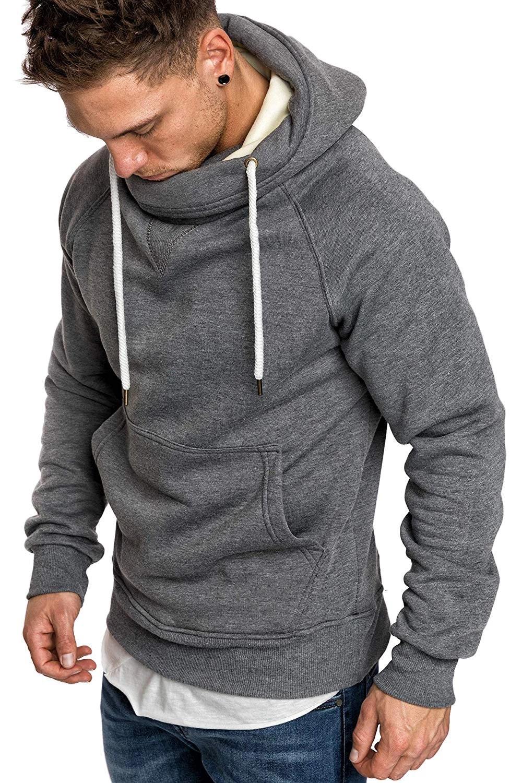Men Hoodies Fashion Design Solid Casual Sporting Turtleneck