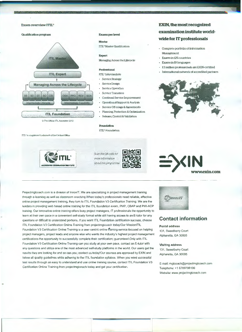 Exin Accreditation From Exin Website Contact Itil Foundation V3