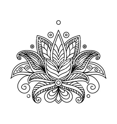Turkish Or Persian Floral Design Lotus Tattoo Vector By Seamartini On Vectorstock Flower Henna Sternum Tattoo Design Tattoos