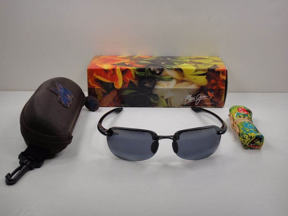 211a2d8bc03 MAUI JIM SANDY BEACH POLARIZED 408-02 SUNGLASSES GLOSS BLACK GREY LENS NEW!