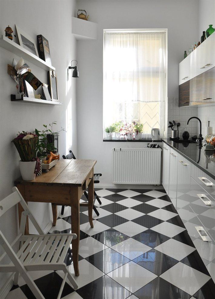 Love The Floor Done This Way With White Cabnets And Black Countertops.