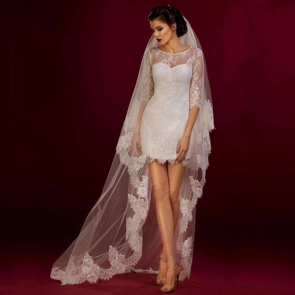 Image Result For Short Dress With Long Veil Wedding Short Lace Wedding Dress Lace Dress With Sleeves Mini Wedding Dresses [ 1000 x 1000 Pixel ]