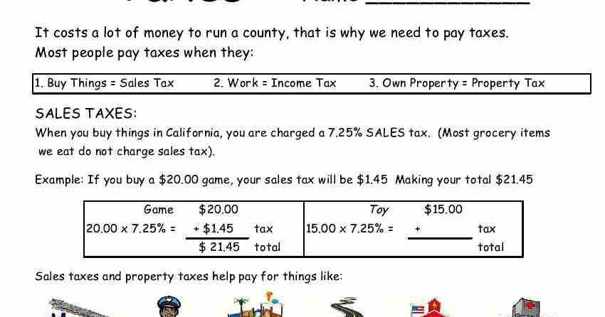 Here Is A Worksheet On Taxes We Live In California So I Used The Taxes That Apply To Us I Also Used A Minimum Amount Of Income Income Tax Tax