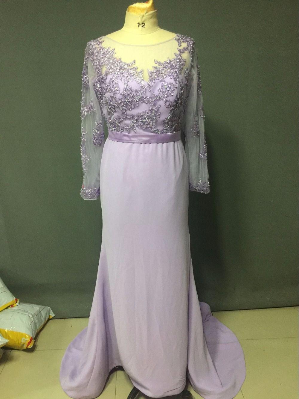 Free shipping buy best lilac purple long sleeve mermaid bridesmaid