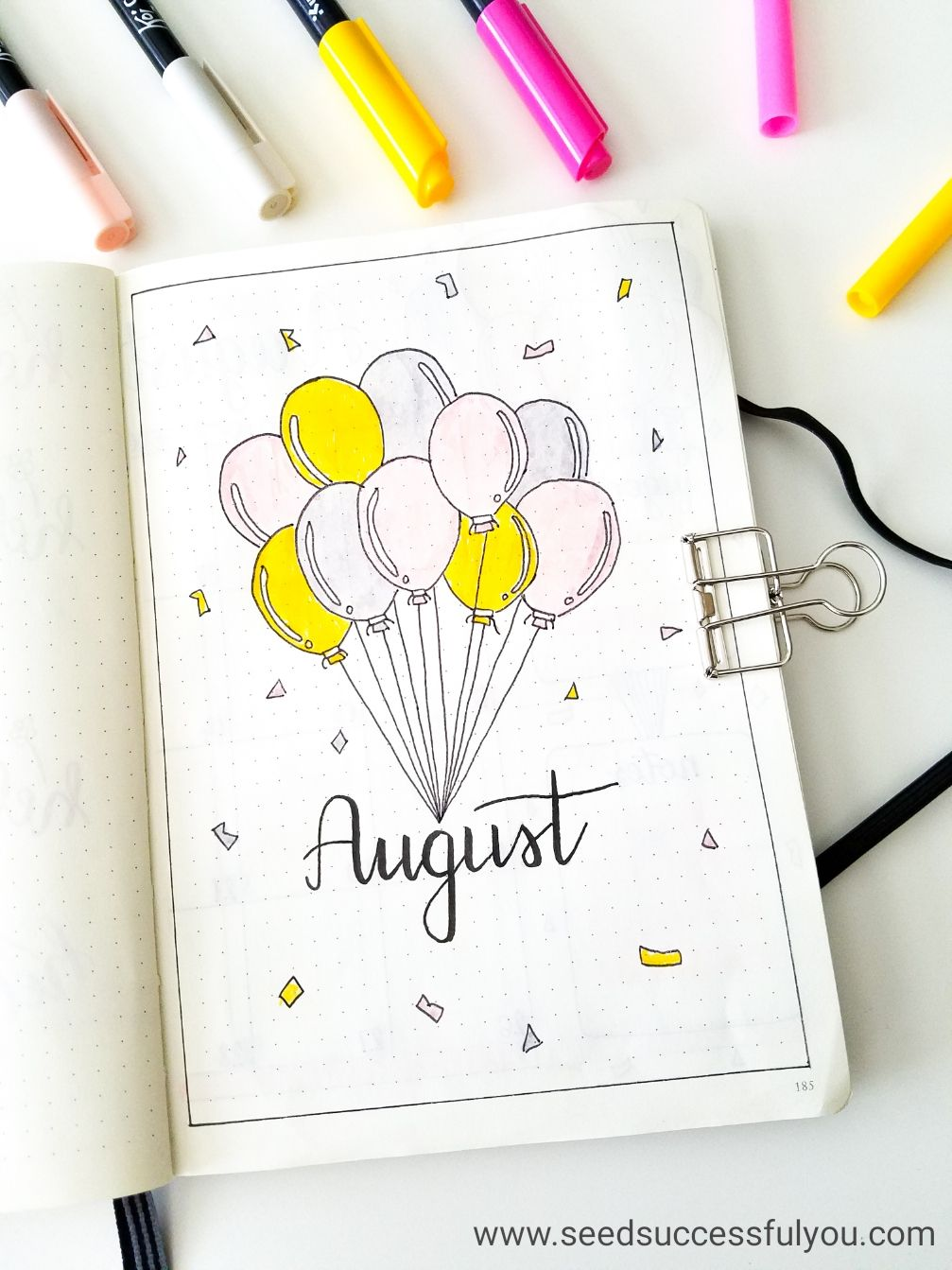 My bullet journal August monthly cover page. (bujo, bullet ...