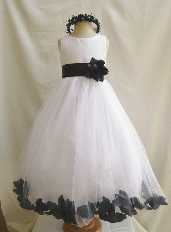 Flower Girl Dress Ivory Rose Petal Dress with Black by LuuniKids ...