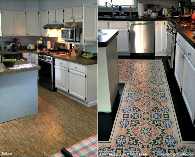 24 Before + After DIY Stencil Projects To Inspire! Custom Painted Kitchen  Floor Stencils And