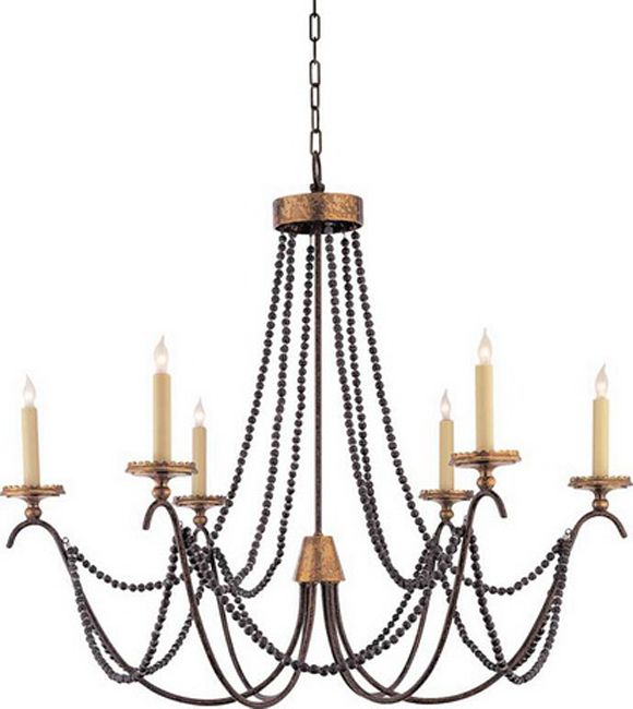 Visual Comfort E. Chapman Medium Marigot Chandelier in Rust and Old Brass with Tudor Brown Beaded Trim Comfort u0026 Co.Medium Marigot Chandelier in Rust and ...  sc 1 st  Pinterest & MARIGOT SIX LIGHT CHANDELIER WITH WOOD BEADS. Height: 30