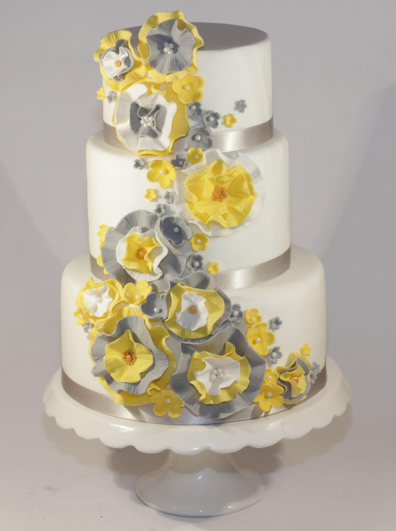 Wedding decorations yellow and gray  yellow u grey ruffle wedding cake  Wedding Cakes  Pinterest